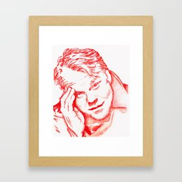 Philip Seymour Hoffman in Red Framed Art Print