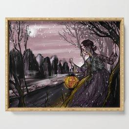 Runaway bride under the moon Serving Tray