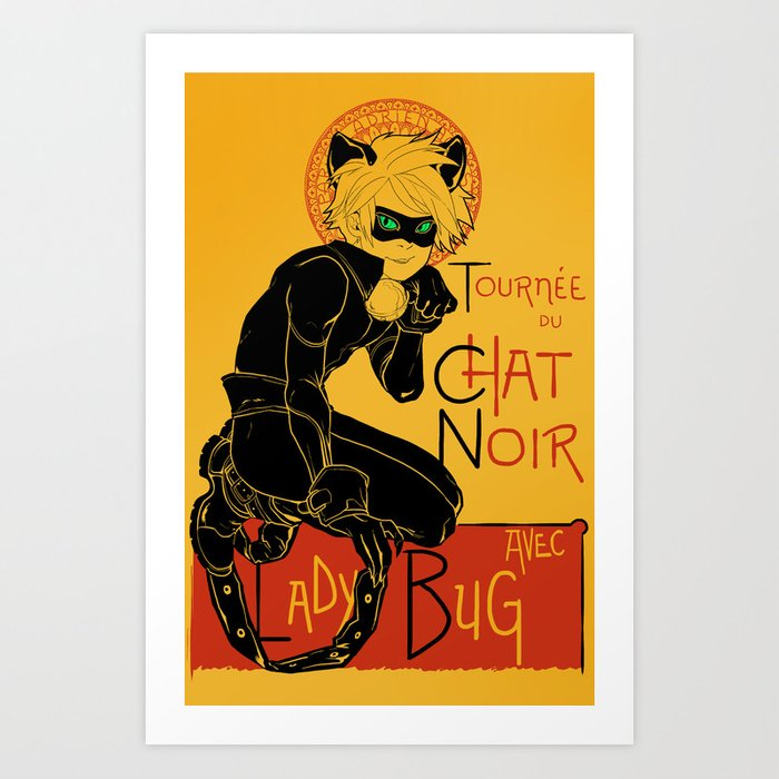 Black Cat and Ladybug Art Print
