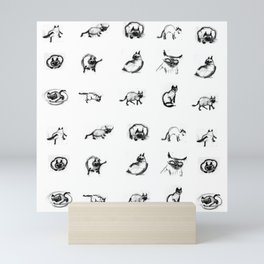 Siamese cat sketches Mini Art Print