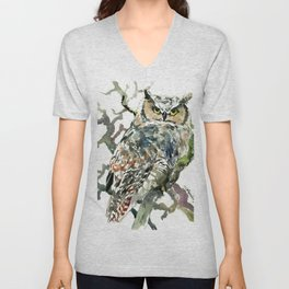 Great Horned Owl in Woods, woodland owl Unisex V-Neck