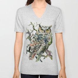Great Horned Owl in Woods, woodland owl Unisex V-Neck