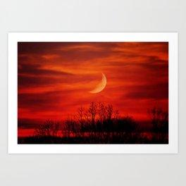 Eerie Red Sky Art Print
