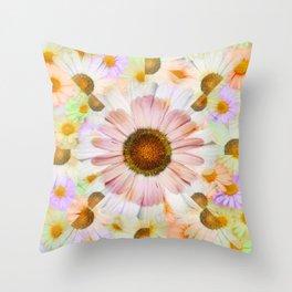 Kaleidoscope Daisies Throw Pillow