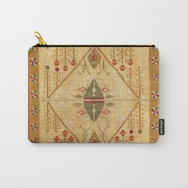 Bikaner Dhurrie Northwest Indian Cotton Kilim Print Carry-All Pouch