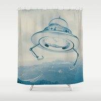 ufo Shower Curtains featuring UFO III by Grafiskanstalt