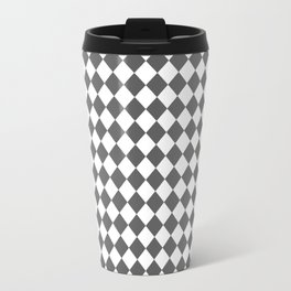 Small Diamonds - White and Dark Gray Travel Mug