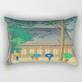 Asano Takeji Rain At Sanjusangendo Temple Vintage Japanese Woodblock Print East Asian Culture Rectangular Pillow