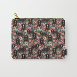 Cavalier King Charles Spaniel back and tan coat floral pattern dog breed gifts Carry-All Pouch
