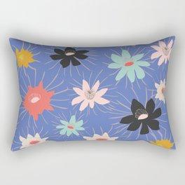 Night Blooming Cereus in Blue Rectangular Pillow