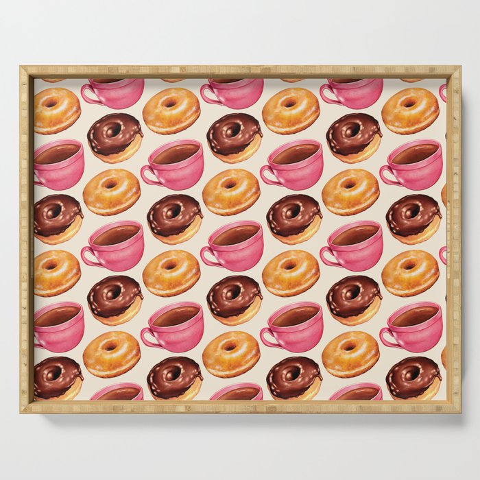 Coffee & Donuts Pattern Serving Tray