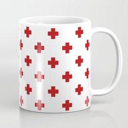 Red Swiss Cross Pattern Coffee Mug