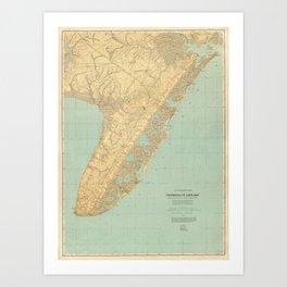 Vintage Map of Cape May NJ (1888) Art Print
