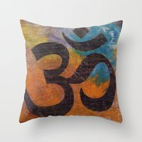 om Throw Pillows featuring Om by Michael Creese