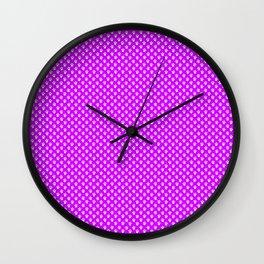 Tiny Paw Prints Pattern - Bright Magenta and White Wall Clock