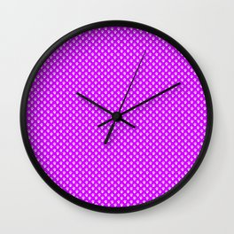 Tiny Paw Prints Pattern - Bright Magenta and White Wall Clock