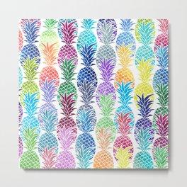 Colorful Watercolor Pineapple Pattern Metal Print