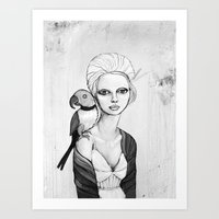 melancholy girl with parrot and feathers Art Print