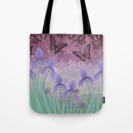 butterflies dance in purple skies above irises Tote Bag