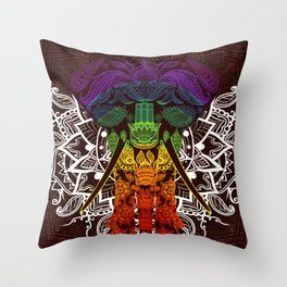 Indian Elephant Mandala Purple Blue Green Yellow Orange Throw Pillow
