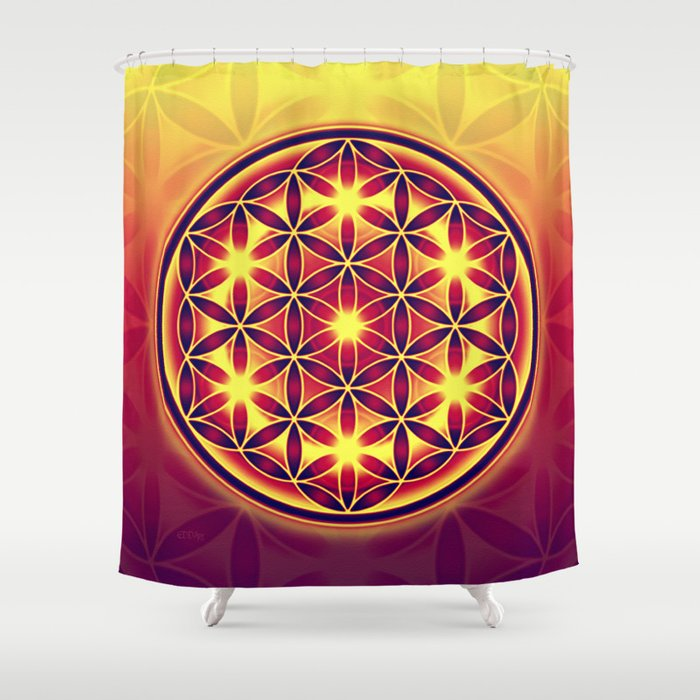 FLOWER OF LIFE Batik Style Yellow Red Shower Curtain By Eddarts