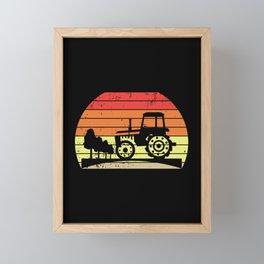 Retro Sunset Tractor Farming Agriculture Framed Mini Art Print