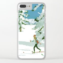 Cross Country Skiing Clear iPhone Case