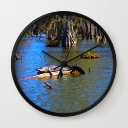 Sunning Alligator Wall Clock