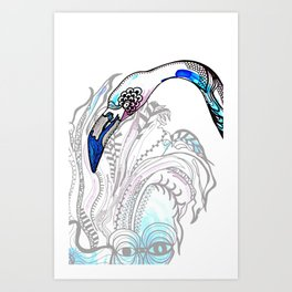 Blue Flamingo Illustration Art Print