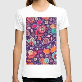 Colorful khokhloma flowers pattern T-shirt
