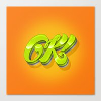 kim sy ok Canvas Prints featuring Ok by Roberlan Borges