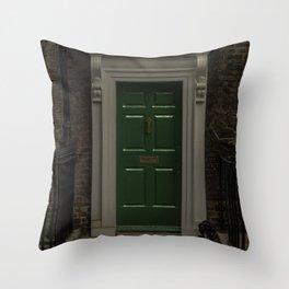 Green Door No Number Throw Pillow