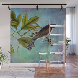 Eastern Kingbird and Sassafrass, Antique Natural History Art Collage Wall Mural