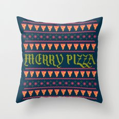 Merry Pizza Throw Pillow