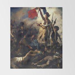 Delacroix – La liberté guidant le peuple-Liberty Leading the People-La Libertad guiando al pueblo Throw Blanket