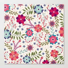 Colorful Floral Spring Pattern Canvas Print