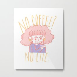 Fiona The Foodie :Coffee Charge Metal Print