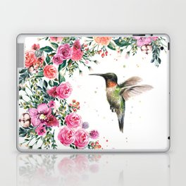 Hummingbird and Flowers Watercolor Animals Laptop & iPad Skin