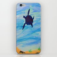 sea turtle iPhone & iPod Skins featuring Turtle by Lissasdesigns