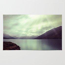 Lake mountain light Rug