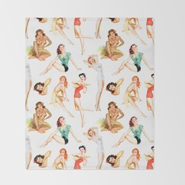 Vintage Tropical Hawaiian Pinup Girls Throw Blanket