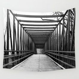 Bridge to Nowhere Black and White Photography Wall Tapestry