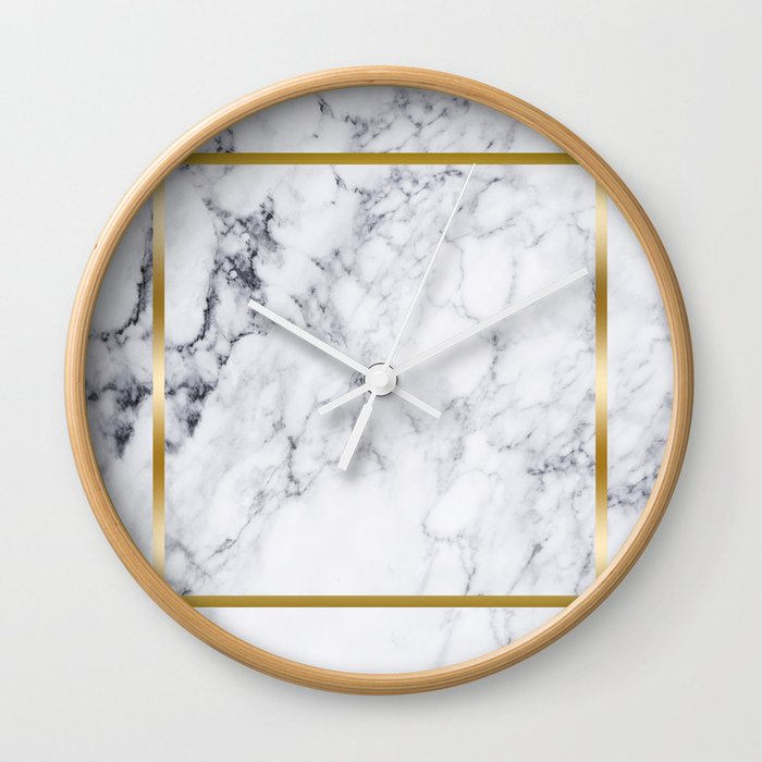 White Marble Gold Frame Wall Clock by artonwear | Society6