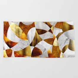 Curves - Silver and Gold Beach Towel