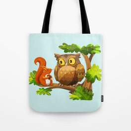 The Owl and The Squirrel Tote Bag