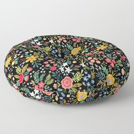 Amazing floral pattern with bright colorful flowers, plants, branches and berries on a black backgro Floor Pillow