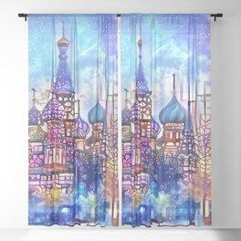 Twilight Stained Glass Saint Basil's Sheer Curtain
