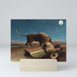'The Sleeping Gypsy' Lion and Moon While Sleeping in the Desert by Henri Rousseau Mini Art Print
