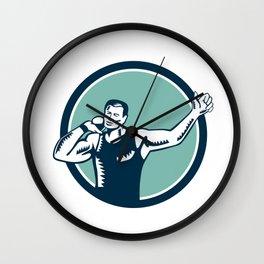 Shot Put Track and Field Athlete Woodcut Wall Clock