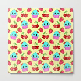 Cute funny sweet adorable happy little blue baby cupcakes, little cherries and red ripe summer strawberries cartoon fantasy light sunny pastel yellow pattern design Metal Print